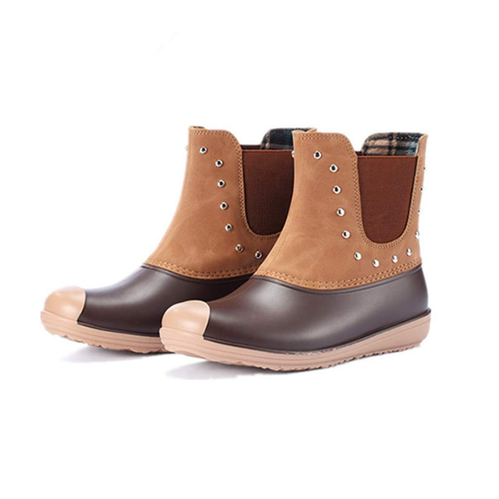 Brown Rivets Women's Winter Warm Lining Rivet Buckle Snow Boots Fashion Style Waterproof Slip-on Zip Ankle Bootie