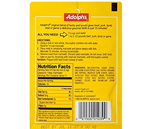 Adolph's SODIUM FREE Tenderizing Meat Marinade (Pack of 3) 1 oz Packets