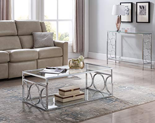 Chrome Finish Glass 2-Tier Cocktail Coffee Table Circle Design ()