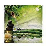 WAZZIT Cotton Linen Tablecloth Spa Decor Table Cover for Kitchen Dinning Tabletop Decoration 60x162inch Zen Garden Theme Jasmine Flower Bamboos