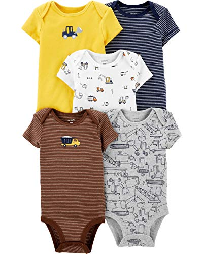 Carter's Baby Boys 5 Pack Bodysuit Set, Construction, 24 Months ()