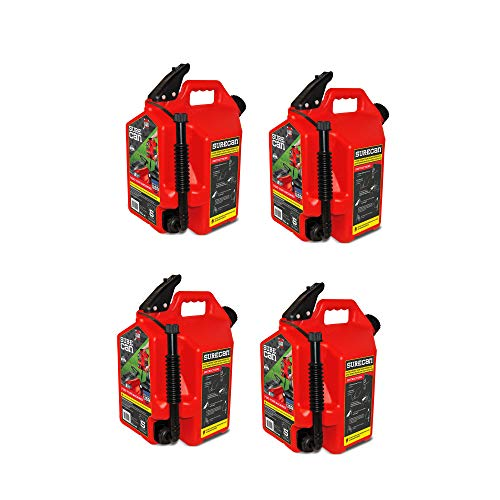 Surecan Self Venting Easy Pour Nozzle 5 Gallon Flow Control Gas Container, Red (4 Pack) by Surecan (Image #4)