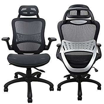 Komene Ergonomic Chairs for Office Home Passed BIFMA SGS Weight Support Over 300Ibs,The Most Comfortable Mesh Cushion High Back-Adjustable Headrest Backrest,Flip-up Armrests,360-Degree Swivel Chairs