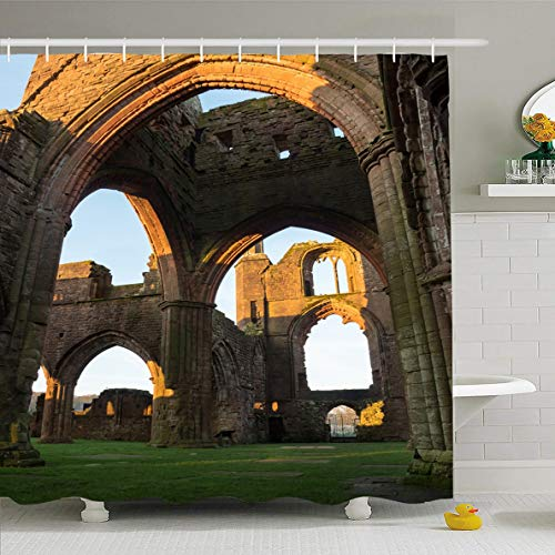 (Ahawoso Shower Curtain 72x72 Inches Cistercian Age Sweetheart Abbey Scotland Ancient Attraction Brick Design Waterproof Polyester Fabric Set with Hooks)