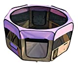 YoYo Moon 45″ D x 24″ H Pet Puppy Dog Playpen Exercise Puppy Pen Kennel 600d Oxford Cloth Pink