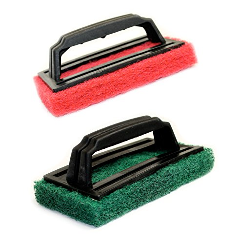set-of-2-bbq-grill-scrubbers-1-thick-scouring-pad-with-handle-assorted-colors