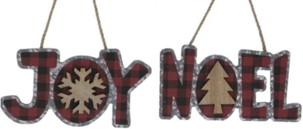 Buffalo Check Word Art Joy & Noel Galvanized Metal Ornaments Bundle, Red Plaid Lodge Cabin Decor (2 Piece Set)