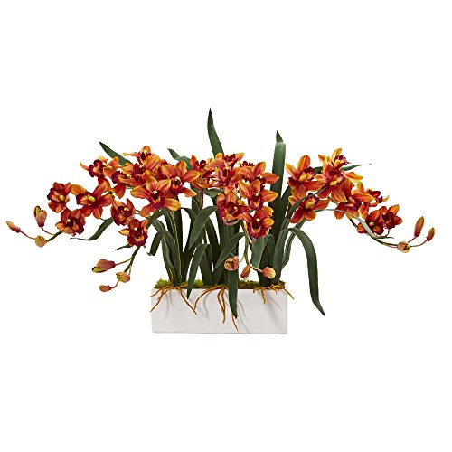 - Nearly Natural 1563-BG Cymbidium Arrangement in White Vase Artificial Plant Burgundy