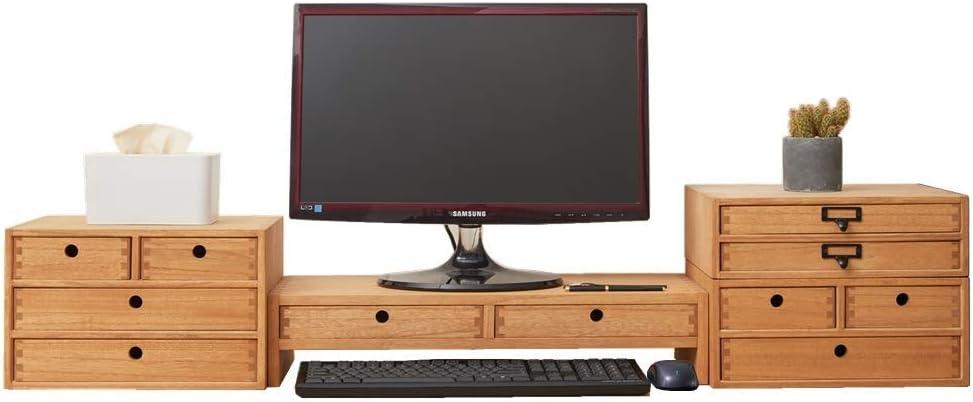 Organizador de escritorio de madera Suministros de oficina Archivador de almacenamiento ordenado Estante de almacenamiento Gabinete Organizador de joyas con 3 cajones Natural: Amazon.es: Hogar