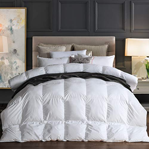 - Goose Down Comforter 100% Egyptian Cotton 750+ Fill Power Insert Queen Comforter 1200 Thread Count Baffle Box Stitched Down Proof Duvet Comforter with Corner Tabs for All Seasons, White 90x90Inches