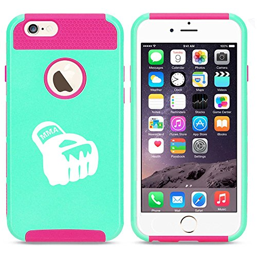 For Apple iPhone SE Shockproof Impact Hard Soft Case Cover MMA Boxing Glove (Light Blue-Hot Pink)