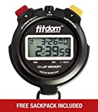 Fitdom Digital Stopwatch + Lanyard. Chronometer Sports Timer Track Performance w/10 Laps Memory & 1/100 Sec with Precision. Feature Large Display & Font. Ideal for Coaches, Competition, Running & More