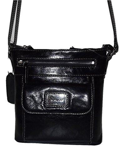 Aurielle Women's Glazed Leather Crossbody Shoulder Bag Black