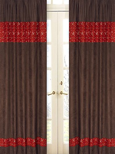 Sweet Jojo Designs 2-Piece Wild West Cowboy Chocolate and Bandana Window Treatment Panels