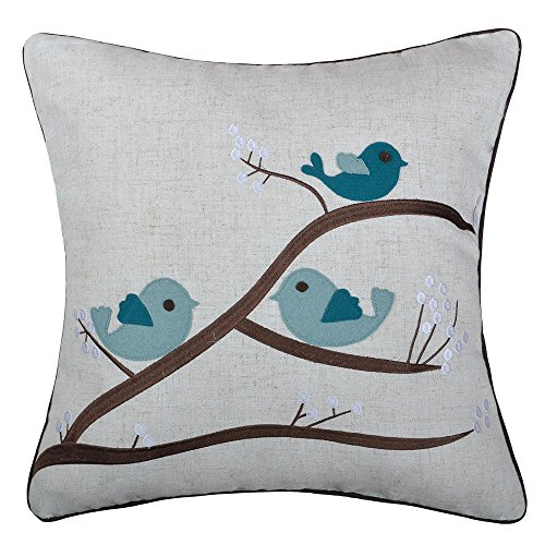 - JWH Applique Accent Pillow Cases Wool Linen Decorative Cushion Covers Home Sofa Car Bed Living RoomOffice Chair Decor Pillowcases 18 x 18 inch Birds Family on Tree