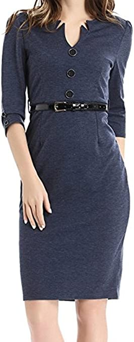 Women's V-Neck Sleeve Wear to Work Business Cocktail Pencil Dress