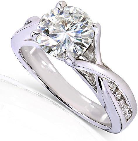 Kobelli Round-cut Moissanite Engagement Ring 1 1/5 CTW 14k White Gold
