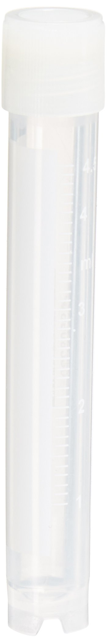 Globe Scientific CryoClear 3015-50 Polypropylene Barcoded Cryogenic Vial, 5mL Capacity, Sterile, External Threads, Attached Screwcap with Molded O-Ring, Round Bottom, Self-Standing (Case of 50)