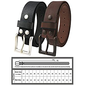 NPET Mens Leather Belt Full Grain Vintage Distressed Style Snap on Strap 1 1/2″ Wide