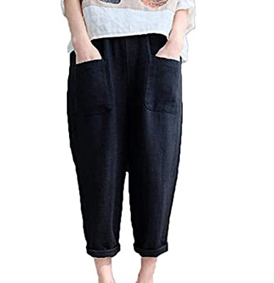 5947ee3b73e2f Women s Harem Shorts Linen Cotton 3 4 Trousers Cropped Pants Elastic Waist  Casual Sports Pants