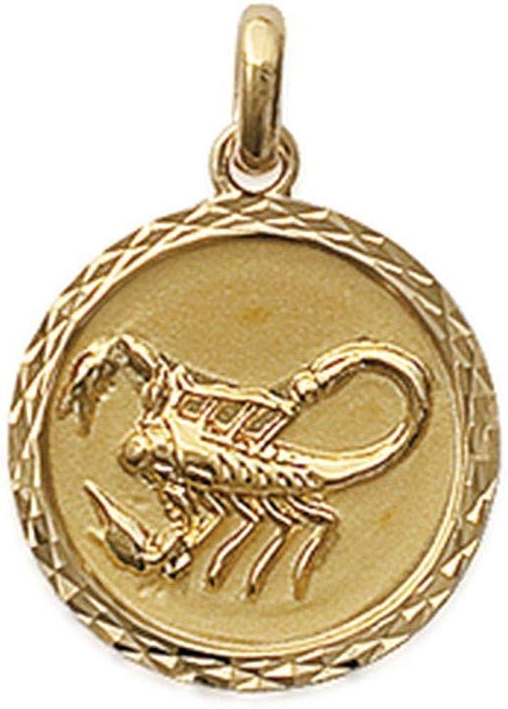 Obrillant-Bijoux Pendentif en plaqu/é Or m/édaille cisel/ée Signe Scorpion Signe Astrologique Zodiaque