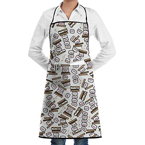 SKYLIHGT Bib Apron with 2 Pockets Tiny Smores Repeat Extra Long Ties Kitchen Aprons for Women and Men, Resistant to Droplets -