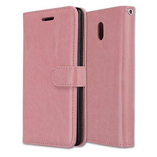 Funda Nokia 6, Ecoway [3 ranuras para tarjetas] Serie retro Cuero de la Scrub PU Leather Cubierta, Función de Soporte Billetera con Tapa para Tarjetas Soporte para Teléfono para Nokia 6- A-1 A-8