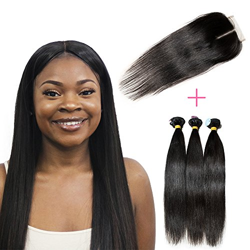 New Star Hair Unprocessed 10A Brazilian Human Hair 3 Bundles With 130  Density Swiss Lace Closure And Frontal Natural Black Color 100  Virgin Hair Human Hair Extensions