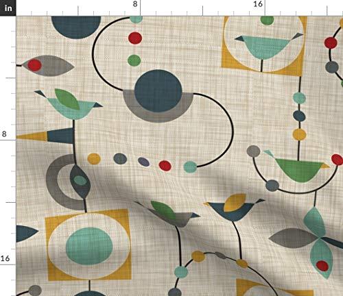 Spoonflower Geometric Fabric - Birdland in Green Mid Century Modern Bird Flag Rocket Linen Beige 50S Print on Fabric by The Yard - Chiffon for Sewing Fashion Apparel Dresses Home Decor