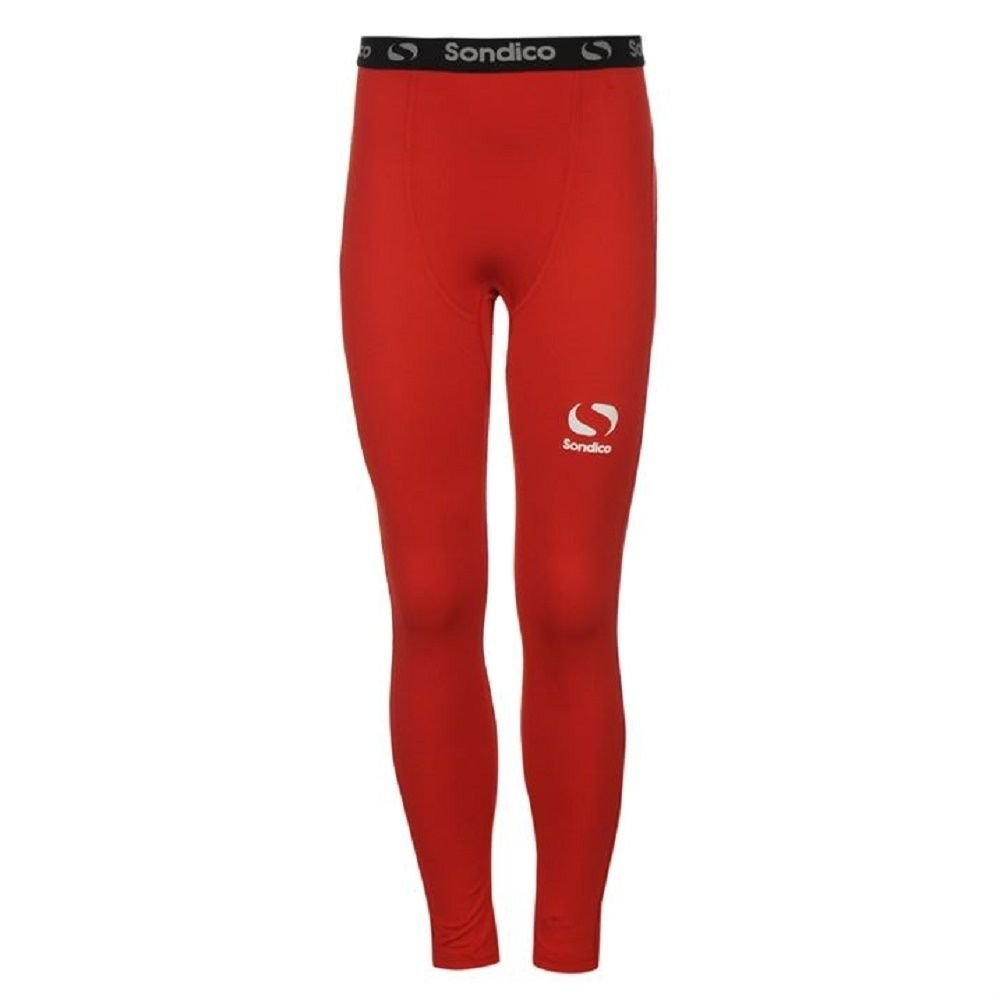 Boys SONDICO Full Length Thermal Baselayer Sports Pants - Red - Age 5-6