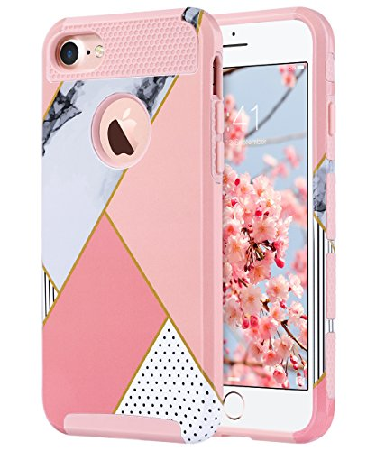 iPhone 7 Case, ULAK Colorful Series Slim Hybrid Scratch Resistant Hard Back Cover Shock Absorbent TPU Bumper Case for Apple iPhone 7 4.7 inch - Pink Geometric Marble
