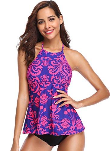 SHEKINI Women's High Neck Halter Ruffle Two Piece Tankini Swimwear Swimsuit Suits(X-Large/(US 16-18),Blue-Red)