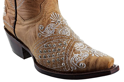 Cowboy Professionella Kvinna Brunt Marfil Strass Bröllop Cowboyboots Klipp Sand