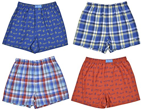 Original Penguin Boys 4-Pack Woven Boxer Shorts,Signature Penguin Print/Assorted Plaids 1,X-Large/18-20