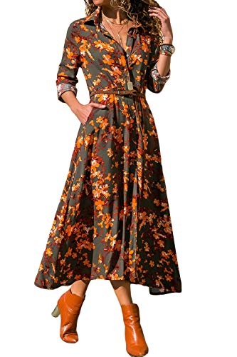 ck 4/3 Sleeve Dresses Bohemian Floral Swing Beach Tank Maxi Dress with Pockets (X-Large, Red) ()
