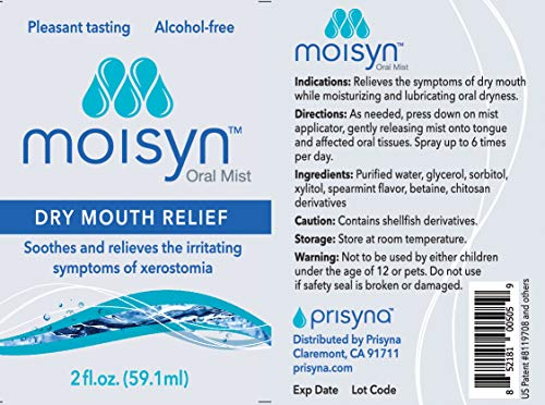 MOISYN Advanced Dry Mouth Relief Oral Spray (2 oz, 12 Pack) Moisturize & Soothe Dry, Irritated Oral Surfaces with Nontoxic, Naturally Derived Ingredients - Alcohol-Free Formula With Xylitol (12 Pack) by Moisyn (Image #1)