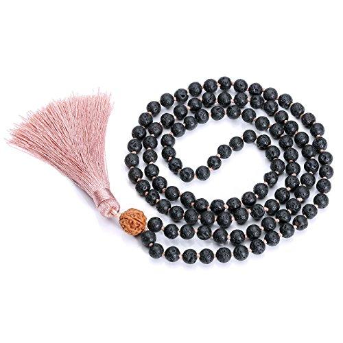 (CrystalTears Lava Rock Stone Rudraksha Mala 108 Prayer Beads Tibetan Buddhist Meditation Pink Tassel Bracelet, Aromatherapy Essential Oils Diffuser Necklace)