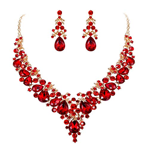 EVER FAITH Women's Crystal Bridal Banquet Floral Cluster Teardrop Necklace Earrings Set Red Gold-Tone