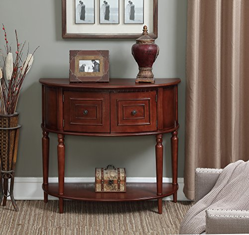 Convenience Concepts American Heritage Two Door Normandy Console Table, Mahogany, H 32
