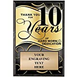 Corporate Plaques - 5 x 7 Thank You For 10 Years Recognition Trophy Plaque Award