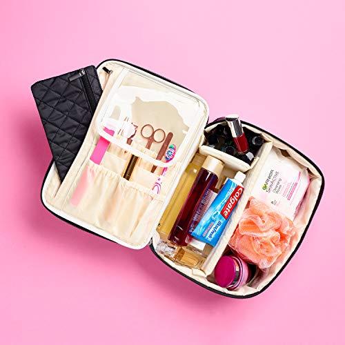 Ellis James Designs Extra Large Makeup Bag With Compartments - big makeup bag organizer, large cosmetic bag black, train case makeup bag large, huge makeup bag With Handle Travel Make Up Bag For Women