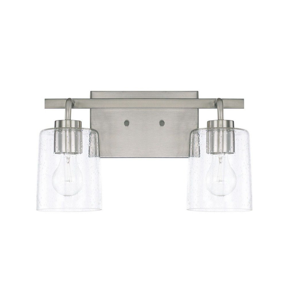 Capital Lighting 128521BN-449 Homeplace Greyson – Two Light Bath Vanity, Brushed Nickel Finish with Clear Seeded Glass