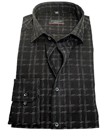 eterna Modern Fit Langarmhemd in schwarz weiss Karostruktur 8025-39-X177
