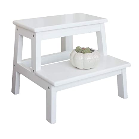 Admirable White Small Step Stool Wooden Extra Wide 2 Step Ladder For Pabps2019 Chair Design Images Pabps2019Com