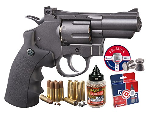 Auto Pistol Silver Air Semi (Crosman SNR357 CO2 Dual Ammo Full Metal Revolver Kit air pistol)