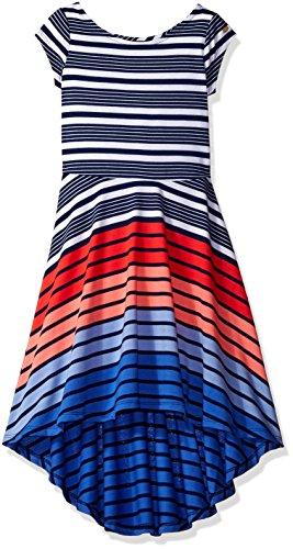 Teen Flag Dress (Tommy Hilfiger Big Girls' High-Low Stripe Dress, Flag Blue, 7)