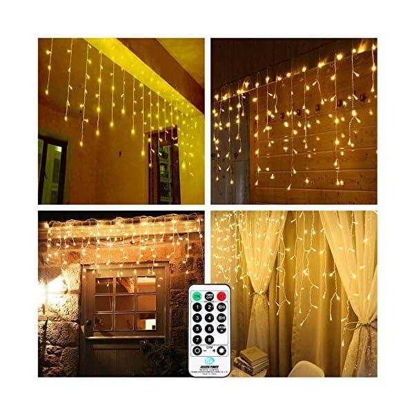 Luci Natale Esterno Cascata, BrizLabs 8.8M 360 LED Tenda Luminosa Catena Luminosa Interno Luci Stringa Decorazione Natalizie 8 Modalità con Telecomando per Casa Feste Giardino Finestra, Bianco Caldo 4 spesavip