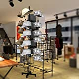 Bluefringe Hat Display Rack Stand 7 Tier Rotating Hat Rack Adjustable Black Metal Free Standing Floor Stand Rack Organizer/Wig Display Stand w/ 35 Circular Hat Hooks