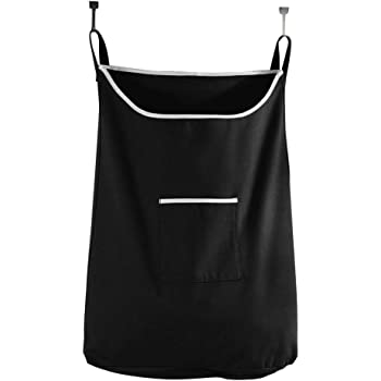 Space Saving Hanging Laundry Hamper Bag Jet Black with Free Door Hooks - by The Fine Living Co USA