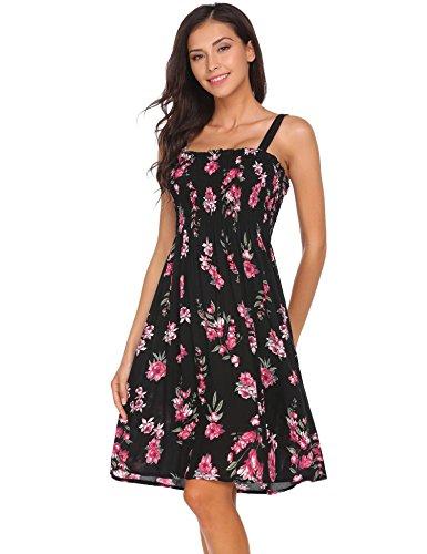 Zeagoo Women Summer Spaghetti Strap Smocked Bodice Stretch Knit Dress Black S Stretch Bodice
